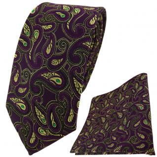 TigerTie Krawatte + Einstecktuch in lila gold grün schwarz Paisley