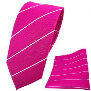 Schmale TigerTie Krawatte + Einstecktuch magenta fuchsia silber gestreift