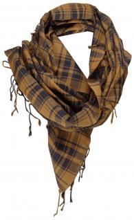 Halstuch braun schwarz kariert mit Fransen an zwei Seiten - Gr. 100 x 100 cm