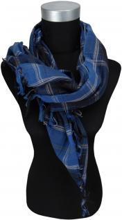 Halstuch blau grau schwarz kariert mit Fransen an zwei Seiten -Gr. 100 x 100 cm