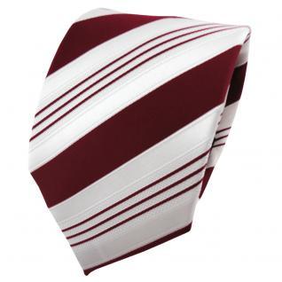 TigerTie Satin Krawatte rot purpurrot weiß silber gestreift - Binder Schlips Tie
