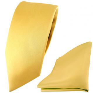 schmale TigerTie Satin Seidenkrawatte + Seideneinstecktuch gold einfarbig
