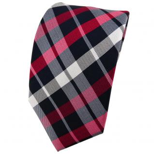 Enrico Sarto Seidenkrawatte rot blau dunkelblau silber kariert - Krawatte Seide