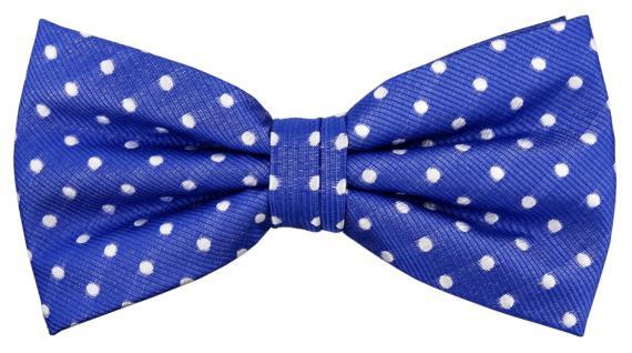 Designer Seidenfliege blau signalblau silber weiß gepunktet - Fliege Seide Silk