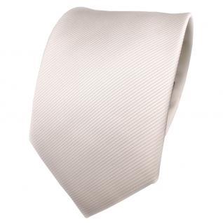 TigerTie Designer Krawatte weiß perlweiß creme cremeweiß Uni Rips - Binder Tie