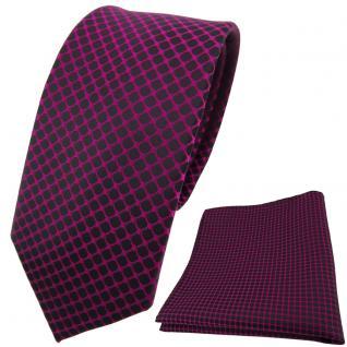 schmale Designer TigerTie Krawatte + Einstecktuch magenta schwarz gemustert