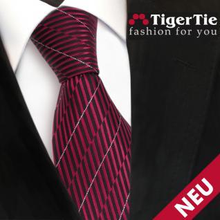 schöne TigerTie Designer Krawatte in rot schwarz silber gestreift - Tie Binder