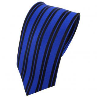 Seidenkrawatte blau schwarz längs gestreift - Krawatte Seide Tie Silk Binder