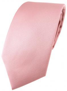 TigerTie Designer Krawatte in rosa altrosa einfarbig Uni Rips