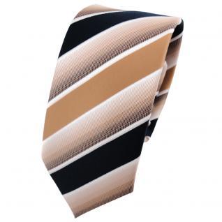Schmale TigerTie Krawatte beige braun dunkelblau weiß gestreift - Binder Tie