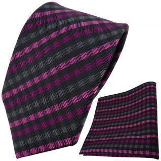 TigerTie Designer Krawatte + Einstecktuch magenta anthrazit schwarz gestreift