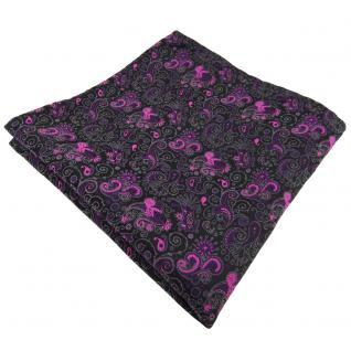 schönes Einstecktuch in lila magenta schwarz grau paisley - Tuch 100% Polyester