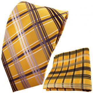 schöne TigerTie Krawatte + Einstecktuch gold silber grau anthrazit kariert