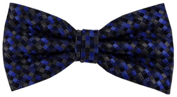 TigerTie Designer Seidenfliege blau anthrazit schwarz gemustert - Fliege Seide