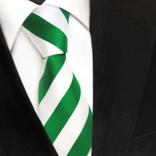 TigerTie Designer Krawatte - Schlips Binder grün leuchtgrün weiß gestreift - Tie