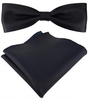 schmale TigerTie Lederfliege in schwarzblau + Einstecktuch 100% Lammnappa-Leder