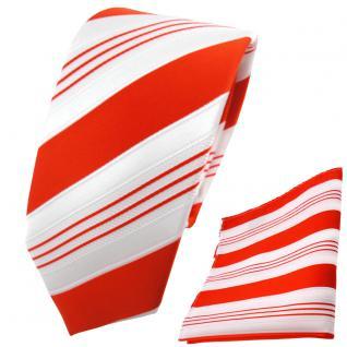 schmale TigerTie Krawatte + Einstecktuch orange tieforange weiß silber gestreift