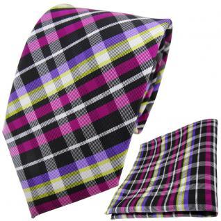 TigerTie Krawatte + Einstecktuch magenta lila gelb schwarz silber kariert