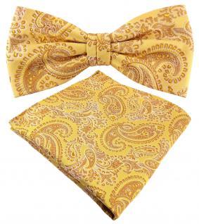 schöne Designer Seidenfliege + Einstecktuch Seide gold gelbgold silber Paisley