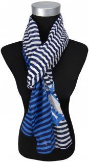 TigerTie Schal in blau dunkelblau marine weiß gestreift - Tuch Gr. 180 x 50 cm