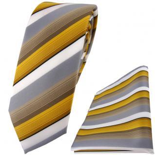 schmale TigerTie Krawatte + Einstecktuch in gold grau weiss gestreift