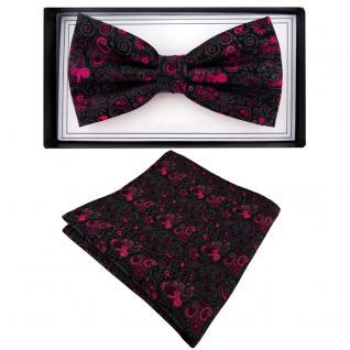 Designer Fliege + Einstecktuch magenta anthrazit schwarz gemustert Ornamente