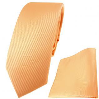 schmale TigerTie Krawatte + Einstecktuch in lachs orange einfarbig Uni Rips