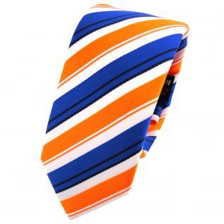 Schmale TigerTie Krawatte orange blau schwarz weiß gestreift - Schlips Binder