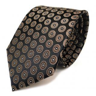 TigerTie Seidenkrawatte braun dunkelbraun silber gepunktet - Krawatte Seide
