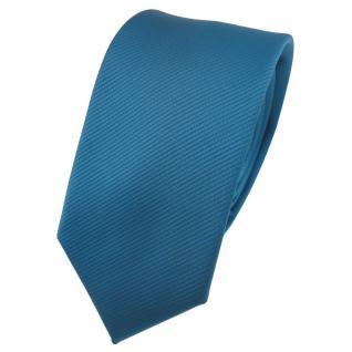 Schmale TigerTie Designer Krawatte türkis wasserblau Uni Rips - Binder Tie
