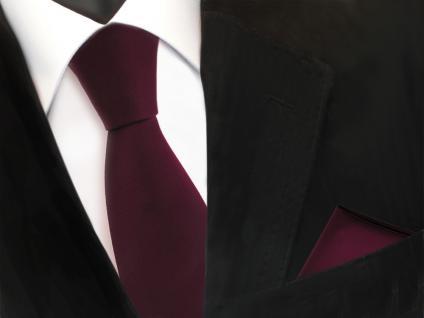 Designer TigerTie Krawatte + Einstecktuch rot weinrot Uni Rips - Binder Tuch