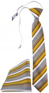 TigerTie Sicherheits Krawatte + Einstecktuch in gold grau weiss gestreift