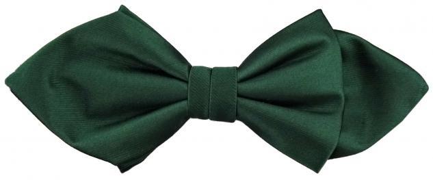 Schmale Satin Seidenfliege grün dunkelgrün Uni fein gerippt - Fliege Seide Silk