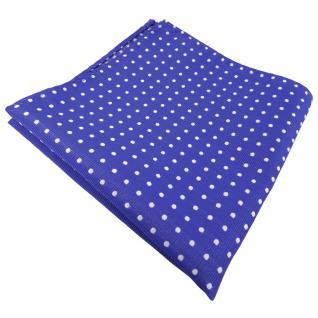 schönes Einstecktuch blau ultramarinblau silber gepunktet - Tuch 100% Polyester