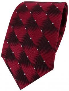 TigerTie Designer Krawatte rot weinrot silber gepunktet - Schlips Binder Tie