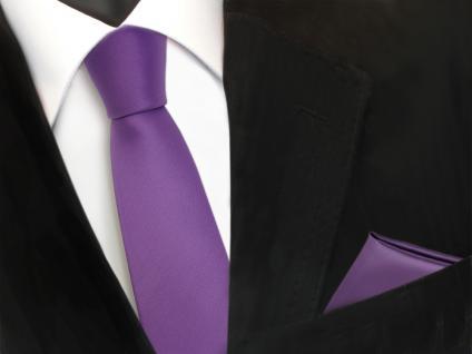 schmale TigerTie Schlips Krawatte + Einstecktuch lila flieder uni Binder Tie
