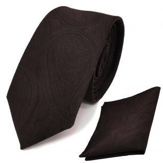 schmale TigerTie Krawatte + Einstecktuch in braun dunkelbraun paisley gemustert