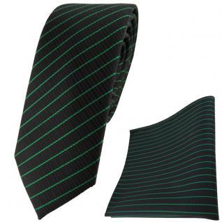 schmale TigerTie Designer Krawatte + Einstecktuch in grün schwarz gestreift