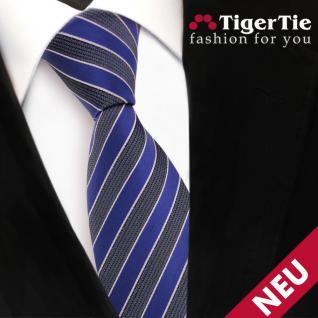 TigerTie Designer Krawatte blau grau blaugrau silber gestreift - Binder Tie