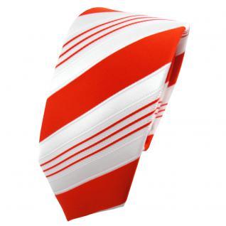 schmale TigerTie Satin Krawatte orange tieforange weiß silber gestreift - Binder