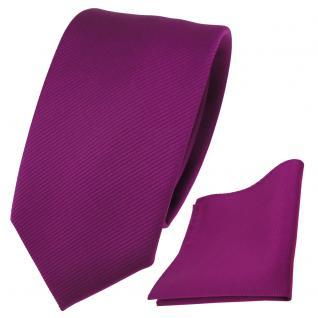 Schmale TigerTie Krawatte + Einstecktuch magenta fuchsia violett Uni Rips