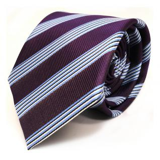 Krawatte - Schlips Binder lila violett blau schwarz weiss gestreift - Tie