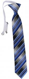 TigerTie Security Sicherheits Krawatte blau hellblau silber anthrazit gestreift