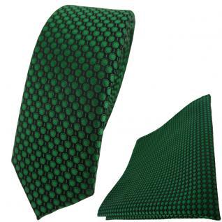 schmale TigerTie Krawatte + Einstecktuch in grün dunkelgrün gepunktet