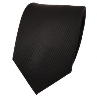 TigerTie Designer Krawatte schwarz Uni Rips - Binder Tie