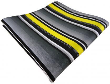 TigerTie Einstecktuch in gelb silber grau weiss gestreift - Größe 30 x 30 cm