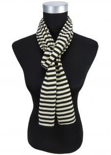 Damen Schal in schwarz beige gestreift Gr. 172 cm x 27 cm - Halstuch Tuch