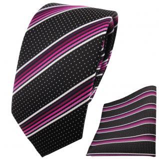 schmale TigerTie Krawatte + Einstecktuch magenta silberweiss schwarz gestreift