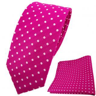 schmale TigerTie Krawatte + Einstecktuch magenta fuchsia silber gepunktet