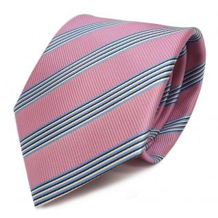 Designer Krawatte - Schlips Binder magenta pink blau schwarz weiss gestreift - Tie